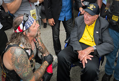 A WWII War Vet and the Biker (Matt Shiffler Photography) Tags: cleveland clevelandskyline rnc rncincle republicannationalconvention 2016 republican government trump donald donaldtrump hillaryclinton ohio ohiornc peace harmony debate tension anger peaceful innocence racial police veteran demonstrate argue protest protester clevelandprotester