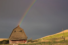 The Whether Man (Dex Horton Photography) Tags: whetherman weather vane vain rainbow palouse farm redbarn barn clouds rain sun colfax washington bestof dexhorton
