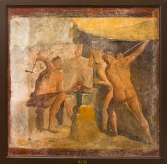 IMG_0839 (jaglazier) Tags: 1stcentury 1stcenturyad 2016 3rdstyle 72416 9531 adults architecturalelements barechested campania canopies copyright2016jamesaglazier crafts forges frescoes grecoroman italy july legends men museoarcheologiconazionaledinapoli museums myths naked naples napoli painting pompeii religion rituals roman tools trojanwar troy anvils art barefoot cyclops fresco hammers interiors muscular nude smiths swords wallpainting weapons