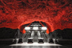Escape From Hell... (JH Images.co.uk) Tags: stockholm underground metro red walls hdr dri escalator exit entrance subway looking up sweden solna cave hell tunnelbana art