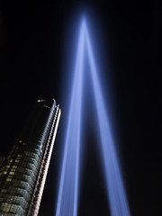 (Alessandro Frati) Tags: new york 911 september 11 light memorial night downtown blue sky ny nyc usa us