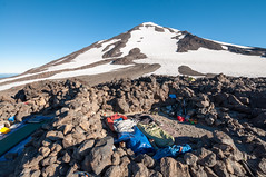 Good morning, mountain! (LucienTj) Tags: view sleepingbags slope sky campsite steep backpacking hiking camp mountadams snow glacier volcano rocks mountain