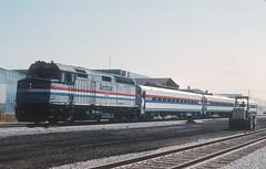 AMTK 239 with San Joaquin 704, Emeryville, CA on September 26, 1994 (railfan 44) Tags: amtrak