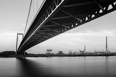 Bridged Emmerich (frank_w_aus_l) Tags: emmerich monochrome bridge bw nikond800 nikkor2470 longexposure reflection rhein river water architecture industry kleve nordrheinwestfalen deutschland de