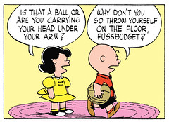 Fussbudget (Tom Simpson) Tags: peanuts charliebrown comics illustration comicbook comicstrip charlesmschulz charlesschulz 1955 1950s lucyvanpelt lucy ball insult fussbudget