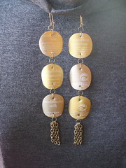 Goldie's Glamorous Goldtone Earrings (irecyclart) Tags: jewelry plastic recycledearrings refashion upcycled