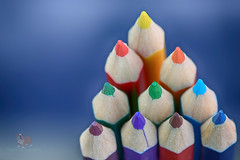MacroMondays - Pencils, Pens, Erasers and/or Paperclips - Pyramid of Pencils (Neyol) Tags: pencil color colour lead crayon canon 100mm 70d red green blue orange yellow macro monday dof ppep