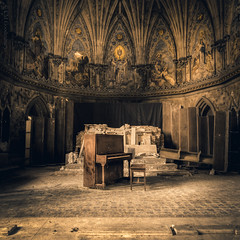 Hymns Left Unsung | Watcher's Temple (CM Goodenbury (FloodSpectre)) Tags: abandoned urbandecay urbex urbanexploration ue church religious rubble piano pianostool instrument music fresco ornate paintings tile pews gold cathedral altar holy architecture squareformat 2016 floodspectre cmgoodenbury canoneos6d sigmaaf1224mmf4556exdghsmultrawidezoom
