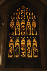West end stained glass (N'GOMAPHOTOGRAPHY) Tags: peterborough cathedral nightshoot night candles gothic masonry stonework woodwork carvings stainedglass window jesus cross crucifixion