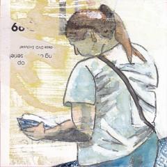 # 268 (24-09-2016) (h e r m a n) Tags: herman illustratie tekening bock oosterhout zwembad 10x10cm 3651tekenevent tegeltje drawing illustration karton carton cardboard boek book lezer lezen read reading reader