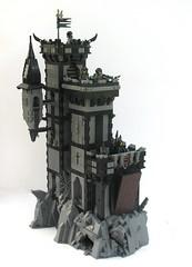 Grimhold Castle (W. Navarre) Tags: castle dark black grey white crags crag catapult siege men minifigs