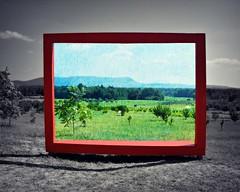 Life Imitates Art (blamstur) Tags: bigredframe easthampton massachusetts frame selectivecoloring landscape