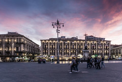 Catania (nadeeshacabral) Tags: townsquare sicily city people italy catania sunset motionblur sicilia it