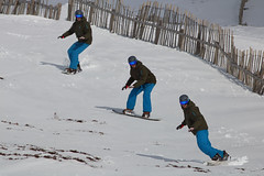 Snow Boarding (blootoonloon1( No to Badger Cull)) Tags: scotland cairngorms glenshee highlands ski centre snow snowboarder colours outdoors motion manipulation