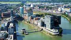 MediaHarbor From Above (cokbilmis-foto) Tags: medienhafen mediaharbor media harbor harbour dsseldorf dusseldorf duesseldorf nrw germany nikon d3300 nikkor 18105mm hyatt regency hotel innside colorium bridge rhine river rhein postmodern post modern architecture buildings highrises cityscape city urban rheinturm rheinfunkturm fernsehturm tower