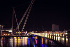 Newport city foot bridge (technodean2000) Tags: newport city foot bridge footbridge south wales uk river crossing nikon d610 lightroom reflections architecture night water waterfront outdoor