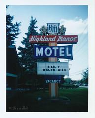 Highland Manor Motel (ilovecoffeeyesido) Tags: polaroidcolorpackiiilandcamera polaroid fujifp100c analog film peelapartfilm illinois sooc fujifilm highlandmanormotel lombardil vintagesign vintagesignage