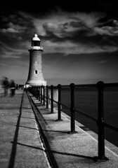 The Lighthouse (Jos Garrido) Tags: uk longexposure travel sea england lighthouse seascape wall architecture newcastle pier blackwhite europe unitedkingdom northumbria northsea nik tynemouth newcastleupontyne breakwater rivermouth rivertyne railtrack northshields ndfilter josegarrido neutraldensity northshieldslighthouse tynemouthlighthouse pierroad nikond800 niksilverefexpro bwnd110e