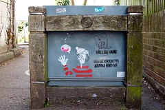 Where's Wally? (chrisjohnbeckett) Tags: hello red urban graffiti stencil wave canterbury frame tease waving challenge motherfuckers ststephens taunt whereswally canonef24105mmf4lisusm ontheback chrisbeckett fotodivertenti ballsohard