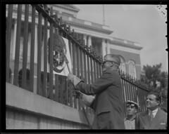Fence at State House, Governor starts October 5, 1942 (& other fences around city) (Boston Public Library) Tags: fences worldwarii ironwork beaconhill governors capitols massachusettsstatehouse lesliejones leverettsaltonstall scrapdrives
