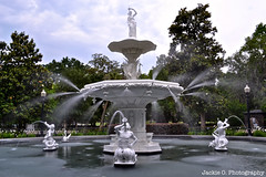 Forsyth Park Fountain (Jackie O. Photography) Tags: ocean park flowers trees summer white house black color green history church water cemetery st statue sunrise vintage georgia paul pier moss spring sand weed waves candle cathedral forrest bright antique piers cemetary ghost prayer rustic salt graves atlantic haunted southern spanish hollywood plantation movies gump ghosts savannah museums tombstones wormsloe forsyth sorrel