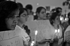 Candles of Hope (Mad Physics Guy with a Camera) Tags: portrait blackandwhite bw woman india march nikon women candles faces walk mumbai bnw blackwhitephotos d5000