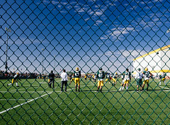 training camp (almostsummersky) Tags: trainingcamp quarterbacks jerseys crowd practice football spectators preseason defense summer greenbaypackers packers wisconsin team players titletown greenbay field drills fence ashwaubenon unitedstates us