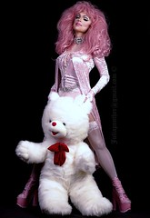 Cotton Candy look with Teddy (Juliapanther Over 26 million views, thanks!!!) Tags: julia panther juliapanther pink velvet velour dress pantyhose stockings nylon boots platform high heels lips lipstick