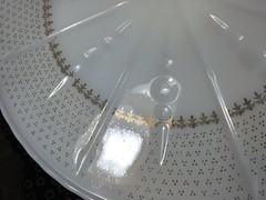 Vintage Milk Glass Cake Stand (vintage-13) Tags: vintage milkglass cake stand cupcake pedestal white cream gold french shabby chic anchor hocking 1950s 1960s 50s gilded fleurdelis