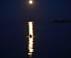 Lone kayaker (shireye) Tags: moon fullmoon comoxstrathcona bc britishcolumbia vancouverisland straitofgeorgia kayak lonekayaker