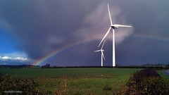 rainbow 086 (M0JRA) Tags: weather clouds sky sun rain rainbows wind turbine roads trees fields