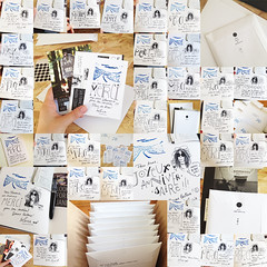 Mail party! (LookingforJanis) Tags: crowdfunding book signing drawing people janisjoplin ddicace dessin tampon mail colis livre thankyou