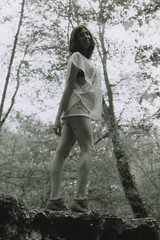 Laurine in the woods - Woman portrait - Analog (Pito Charles) Tags: anal analogcamera argentique canonae1program canonae1 canon film filmcamera pellicule woman femme sexy sexygirl sexywoman femmesexy jambe jambes leg legs woods foret france fille jeune young jolie nice beauty noiretblanc blackandwhite monochrome monochrom tattoo tatouage tattooed