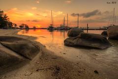 Nongsa Beach Resort sunset (Ken Goh thanks for 3 Million views) Tags: ngsa resort beach boats sunset golden sun blue sky reflection water moving clouds smooth silhouette pentax k1 sigma 1020