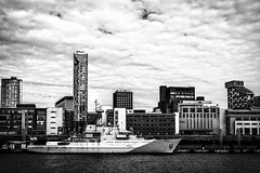 HMS Mersey on the Mersey riverfront (Hindsited) Tags: hmsmersey rivermersey riverfront liverpool navalship blackandwhite
