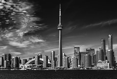 Toronto in b&w (mystero233) Tags: toronto ontario canada america city town downtown skyline cityscape landscape lake water sky airship goodyear advert skyscrapers skyscraper buildings glass outdoor