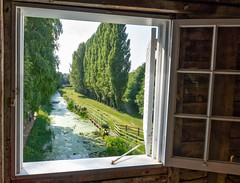 From the Mill Window (Brian Negus) Tags: blindphotographrers frame nationaltrust stream watermill tree interior window angleseyabbey