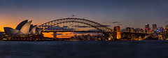 Sydney Harbour Skyline Panorama (Jos Buurmans) Tags: architecture australia bridge capitalcity centralbusinessdistrict city citylandscape cityscape dusk evening harbourbridge leisurebuildings newsouthwales operahouse panorama skyline sunset sydney sydneyoperahouse theater urbanscape