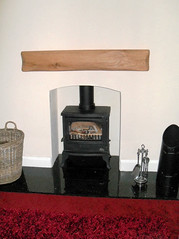 Clive George (Rustic Floating Oak Mantel Shelf) (Designer Fireplaces) Tags: stove oak shelf hearth