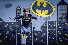 Holy Here We Go Again Batman!!! (trs125) Tags: batman jump leap paintedwall mural gotham batmantshirt selfie
