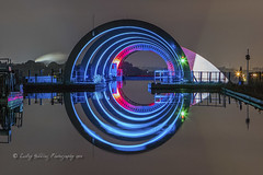 The Portal (pixellesley) Tags: falkirk scotland night evening darksky neon boatlift reflections canal wheel landscape lesleygooding