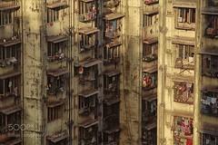 people (SeattleHVAC172) Tags: yellow buildings close ants community comfort privacy too discomfort old architecture india mumbai poverty nobody exterior city life bombay urban scene slum location anthills mhada