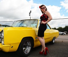Holly_7261 (Fast an' Bulbous) Tags: classic american hotrod custom car automobile vehicle outdoor people girl woman hot sexy chick babe hotty skirt dress seamed stockings high heels silk stilettos shoes red long brunette hair