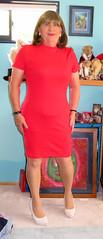 New Dress (Trixy Deans) Tags: sexy xdresser sexytransvestite sexyheels sexylegs sexyblonde reddress tgirl tv transvestite transgendered transsexual tranny trixydeans tgirls transvesite