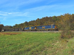 CSX 3070 and 792 (2) (Trains & Trails) Tags: fall autumn october coal pennsylvania greenecounty scenic scenery csx train railroad engine locomotive diesel transportation n73 yn3b darkfuture ge widecab generalelectric 3070 es44ach manorbranch field pasture
