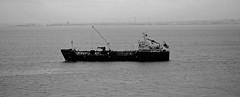 Bahia Tres 1 (PhillMono) Tags: nikon dslr d7100 black white monochrome sepia light shade shadow tanker oiler bahia tres ship boat vessel travel tourist portugal lisbon broadside