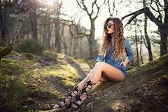 forest III (Michael Kremsler) Tags: shooting forest model girl sunglasses sandals jumpsuit denim tresses availablelight outdoor three bokeh evening path longhair portrait fashion