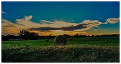 Sunset by the Haybales (vainapur) Tags: sun sunlight serene serenity scenic landscape happiness haystacks hay haybales fall farm farmland farms light sunset perspective blue bluesky bright middleamerica midwest dusk nature naturespainting sky openskies open outdoor photo border