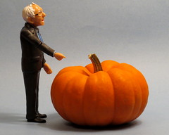 Is it the Great Pumpkin? (diffuse) Tags: point pointing pumpkin miniature actionfigure odc