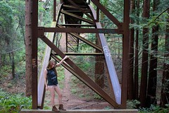 100/365 (Lauren Fowler) Tags: california bridge trees portrait woman santacruz selfportrait hot college me girl metal architecture forest self campus spring woods warm alone arms legs steel blonde shorts redwoods 365 ucsc ucsantacruz